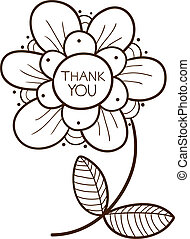 Flower with thank you text. Sketch vector illustration