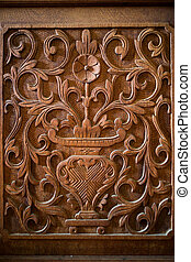 Flower wood carving detail background