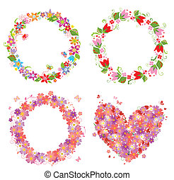 Flower wreath and heart shape