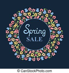 Flower wreath. Spring sale. Design for Women's Day. March 8
