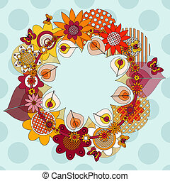 flower wreath with space for your message