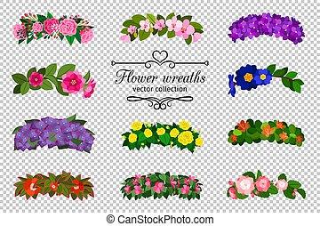 Flower wreaths set