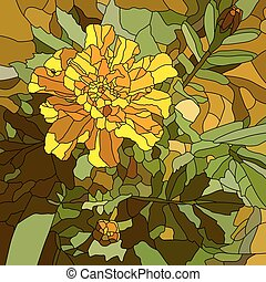 Flower yellow marigold. - Vector abstract mosaic with large...