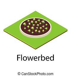 Flowerbed icon, isometric style