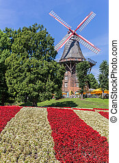 Flowerbed in front of the windmill in Bremen