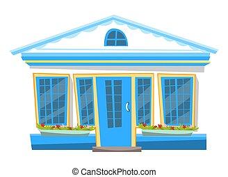 flowerbed, ingang, gebouw, vensters