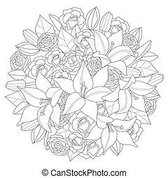 flowerbed, kolorowanie, okrągły, abstrakcyjny, twój, lilie, ...