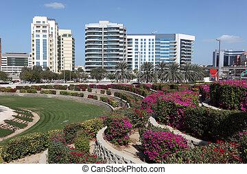 Flowerbeds in the city of Dubai, United Arab Emirates