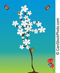 flowered, boompje