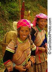 Flowered Hmong Women - Hmong women back from the market of...