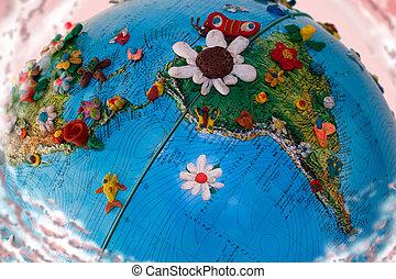 Flowered South America Globe - South America Globe, with the...
