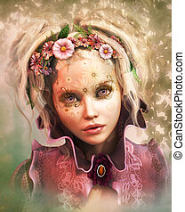 Flowerface, 3d CG - 3d computer graphics of a Girl with...