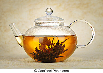 Flowering blooming tea - Flowering blooming green tea in...