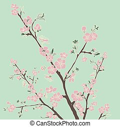 Flowering cherry branch. Vintage background