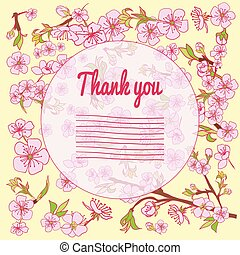 Flowering hand drown cherry blossom card. Vintage background