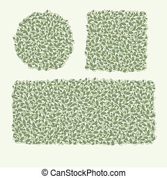Flowering hedges. Green wall of vertical garden landscaping. Cartoon vector illustration isolated on white background.