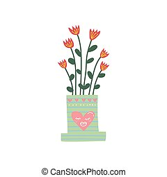 Flowering House Plant Growing in Cute Flowerpot, Design Element for Natural Home Interior Decoration Vector Illustration