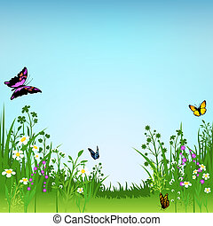 Flowering Meadow and Butterflies - Background Illustration,...