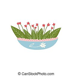 Flowering Plant Growing in Cute Pot, Design Element for Natural Home Interior Decoration Vector Illustration