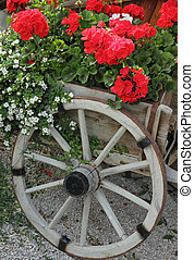 flowering plants in wooden cart container