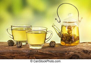 Flowering tea in a teapot