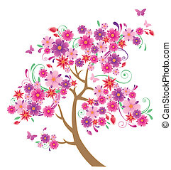 flowering tree and butterflies on a  white background