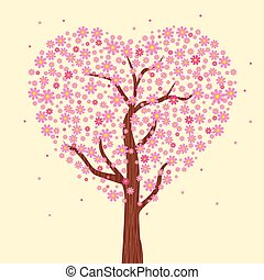 Flowering tree of love. Vector