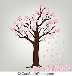 Flowering tree vector