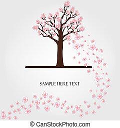 flowering, wektor, drzewo