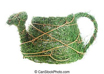 Flowerpot - Braided from dried-up grass flowerpot in shape ...