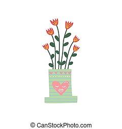 flowerpot, cute, planta, natural, casa, ilustração, elemento, decoração, crescendo, vetorial, desenho, interior, lar, florescendo