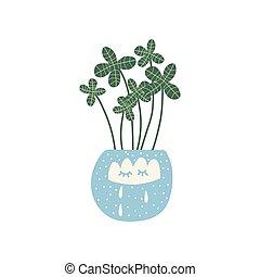flowerpot, cute, planta, natural, casa, ilustração, elemento, decoração, crescendo, vetorial, desenho, interior, lar
