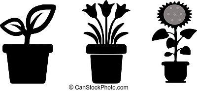 Flowerpot icon on white background