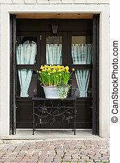 flowerpot in front of a window