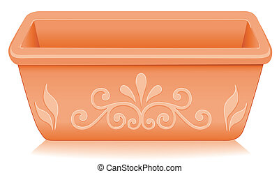 Rectangular clay flowerpot planter with embossed floral designs isolated on white, for do it yourself garden projects. EPS8 compatible.