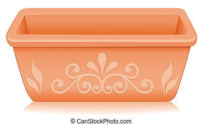 Flowerpot Planter, Floral Designs - Rectangular clay ...