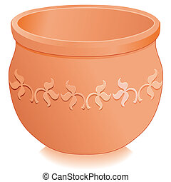 Round clay flowerpot planter with embossed floral designs isolated on white, for do it yourself garden projects. EPS8 compatible.