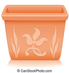 Square clay flowerpot planter with embossed floral designs isolated on white, for do it yourself garden projects. EPS8 compatible.