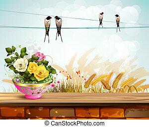 flowerpot, rosas