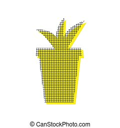 Flowerpot sign illustration. Vector. Yellow icon with square pat