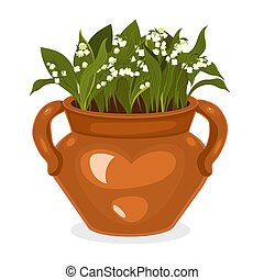 Flowerpot with lilies of the valley Isolated on a white background. Vector graphics.