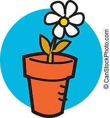 Flowerpot with one pretty daisy - Flowerpot with one pretty ...