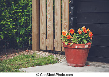 Flowerpot with orange flowers in a garden