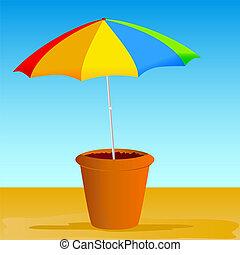 flowerpot with ummbrella vector illustration