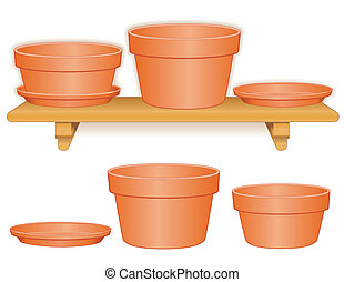Clay flowerpots on wood shelf: bulb pan, azalea pot and saucers, for do it yourself garden projects. EPS8 compatible.
