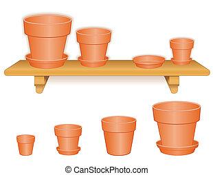 Flowerpots on Wood Shelf - Clay flowerpots on wood shelf:...