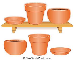 Flowerpots on Wood Shelf - Flowerpots on wood shelf:...