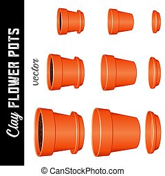 Flowerpots, small, medium, large clay flower pots and saucers