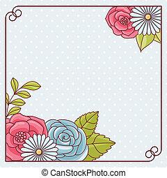 flowers., カード, 招待