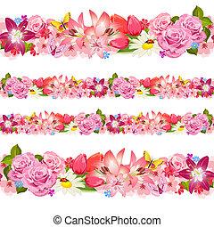 flowers., セット, ボーダー, seamless, 美しさ
